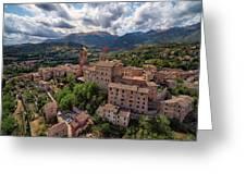 Ancient Village Of Sarnano Italy, Marche, Macerata - Aerial View Greeting Card