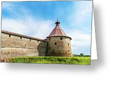 Ancient Wall And Tower Of The Fortress Oreshek Greeting Card