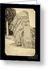 Ancient Wall Of Ostia Antica Greeting Card