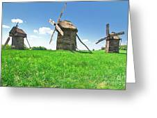 Ancient Windmills In Field Greeting Card