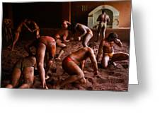 ancient wrestlers of India Greeting Card