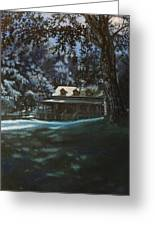 And The Lights Glowing Softly At Night Guide Us Home Greeting Card