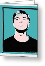 Andy Warhol Self Portrait 1964 On Cyan - High Quality Greeting Card