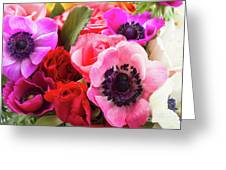 Anemones And Roses Greeting Card