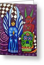 Angel And Devil-day Of The Dead Greeting Card