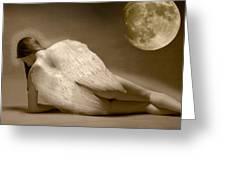 Angel And Moon Greeting Card