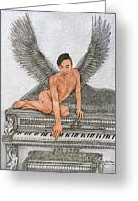Angel And The Piano Drawing Hnad-drawn Greeting Card