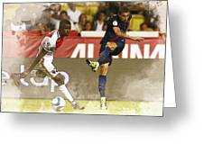Angel Di Maria Shoot The Ball Greeting Card
