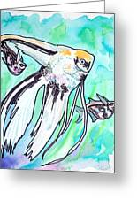 Angel Fish And Hatchet Tetras Greeting Card by Jenn Cunningham