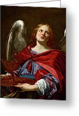 Angel Holding The Vessel And Towel For Washing The Hands Of Pontius Pilate Greeting Card