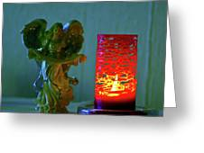 Angel In Candle Light Greeting Card