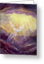 Angel In Mauve Clouds Greeting Card
