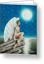 Angel In The Moonlight Greeting Card