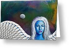 Angel Of The Shepherd Moon Greeting Card by Lee Pantas