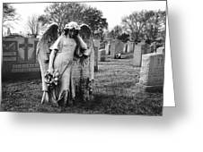 Angel On The Ground At Calvary Cemetery In Nyc New York Greeting Card
