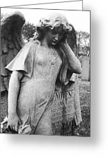 Angel On The Ground At Cavalry Cemetery, Nyc, Ny Greeting Card