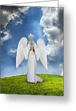 Angel Releasing A Dove Greeting Card by Jill Battaglia