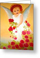 Angel Surrounded By Red Roses Greeting Card