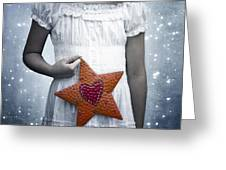 Angel With A Star Greeting Card by Joana Kruse