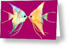Angelfish Kissing Greeting Card by Hailey E Herrera