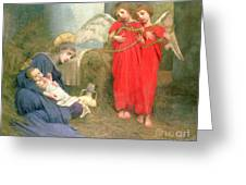 Angels Entertaining The Holy Child Greeting Card