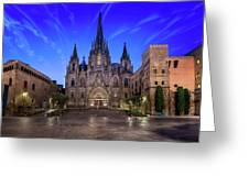 Angels Flying In Front Of The Cathedral Of The Holy Cross And Sa Greeting Card