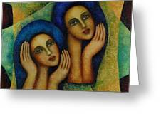 Angels In Blue. Greeting Card