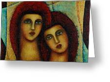 Angels In Red. Greeting Card