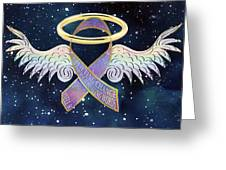 Angels In The Sky At Night Greeting Card