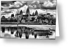Angkor Wat Black Oil Paint  Greeting Card