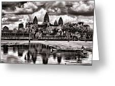 Angkor Wat Sepia Paint  Greeting Card