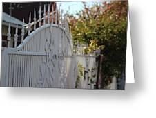 Angled Closeup Of White Washed Iron Gate To Garden Greeting Card