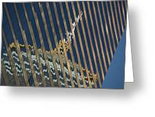 Angled Reflection Of Central Plaza In Skyscraper  Greeting Card