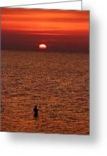 Angler In Summer Sunset Greeting Card