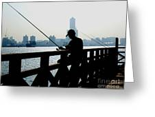 Angler In The Port City Of Kaohsiung Greeting Card