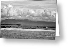 Anglesey Farmland And Distant Hills North Wales Uk Greeting Card