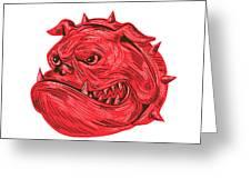 Angry Bulldog Head Drawing Greeting Card