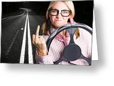 Angry Business Woman Expressing Road Rage Greeting Card