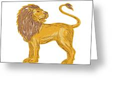 Angry Lion Big Cat Roaring Drawing Greeting Card