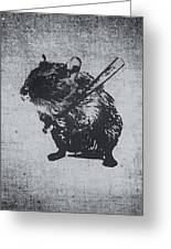 Angry Street Art Mouse  Hamster Baseball Edit  Greeting Card