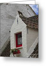 Animal Statue On The Dormer Roof Of A House In Bruges Belgium Greeting Card