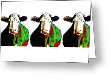 Animals Cows Three Pop Art Cows Warhol Style Greeting Card