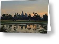 Angkor Wat Sunrise Pond Greeting Card