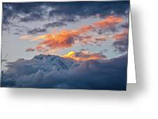 Annapurna South Peak In Sunset Clouds Greeting Card