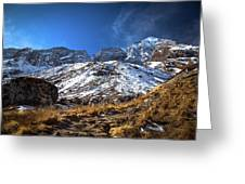 Annapurna Trail With Snow Mountain Background In Nepal Greeting Card