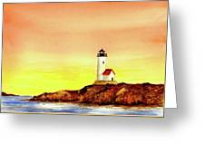 Annisquam Harbor Lighthouse - Summer Scene Greeting Card