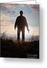 Anonymous Man In Silhouette Holding A Gun Greeting Card