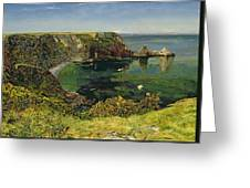 Anstey's Cove In Devon Greeting Card by John William Inchbold