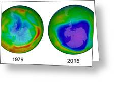 Antarctic Ozone Hole, 1979 And 2015 Greeting Card