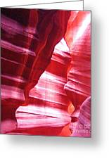 Antelope Slot Canyon Varying Colors From Impinging Sunlight Greeting Card